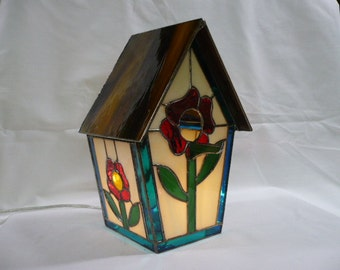 Flower Stained Glass Birdhouse