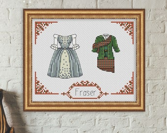 Outlander cross stitch pattern pdf. Claire and Jamie Fraser cross stitch pattern pdf. Wedding cross stitch pattern pdf. Love cross stitch.