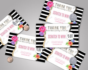 Scratch Off Card - 5 cards, fully customize