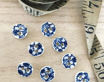 5 x Small 15mm Indigo Blue & White Japanese Pattern Porcelain Buttons, Handmade, Ceramic Buttons, For Sewing or Knitting