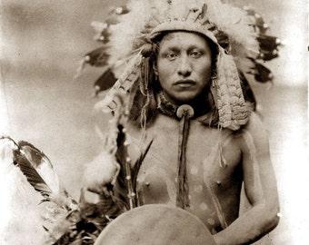 Native American Indian Portrait Lone Elk Photo Art Print Picture