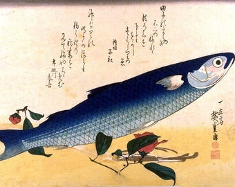 A Shoal of Fishes Gray Mullet - Striped Mullet  Japanese Reproduction Woodblock Picture Print Ando Hiroshige A4