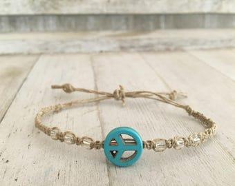 Blue peace sign hemp bracelet.
