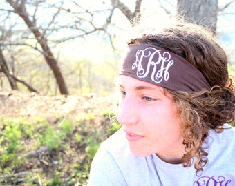 Monogrammed Head Band, Sport Headband, Personalized, Monogrammed Sweat Band, Embroidered Head Band