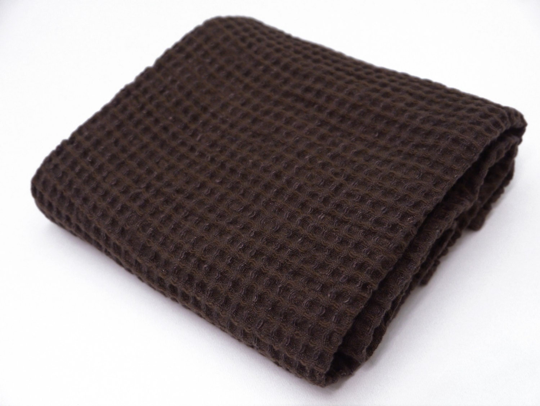 Linen Cotton Dark Brown Waffle Bath Towel