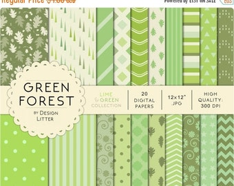 80% Until New Year - Green digital papers · green and lime colors backgrounds with leaves chevrons triangles and polka dots light green for