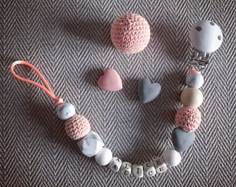 Personalised Handmade Baby Natural Wooden Crochet Pacifier Peach Pink White Grey Dummy Clip Teether Toy Gift