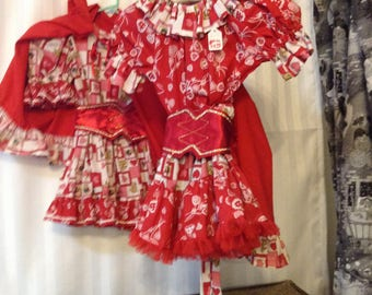 Little Red Riding Hood  CLEARANCE   19.95   inc. red cape with hood   cute print dress and red belt with old fashioned rick rack trim