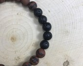Essential Oil Diffuser Bracelet | Mens Jewelry | Natural Stone | Mahogany Obsidian | Zen Bracelet | Stretch Bracelet | Gift for Him