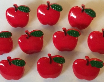 10 x Red Apple Shape Buttons with a shank at the back. (Size: 16mm approx.)