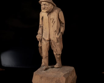Wooden Fisherman figure, hand carved by Valere Fortin