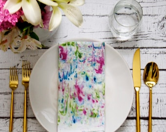 Garden hand dyed Cloth Napkins, Dinner Party, Anthropologie Inspired, Brunch Tablescape