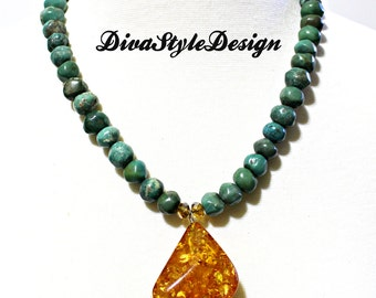 Turquoise Necklace with Amber Pendant