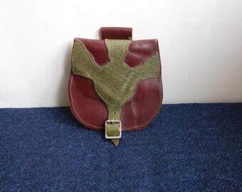 Handmade Leather Sporran, Vintage Leather Sporran
