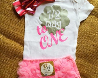 Free Shipping,6 Months,Onesie,Outfit,Diapers Covers,Headbands,Gift,Baby,Princess,Girl,Toddler,Half Birthday,Six
