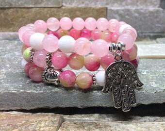 Hamsa Buddha bracelet set Rose Quartz, jade mala