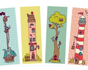 Bookmark set, 4 child bookmarks, bookmarks child, kids bookmarks, school start