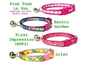 Lilly Pulitzer-inspired Cat Collar with Breakaway Buckle ~ Exotic Garden   HPFI   Lilet
