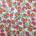 Beautiful Little Sassy Owls with Flowers on White Cotton, Orange Owls with navy, green and red design