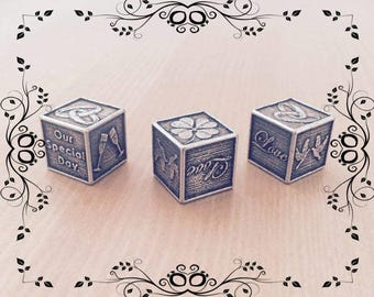 Pewter Wedding Cube Dice Favour