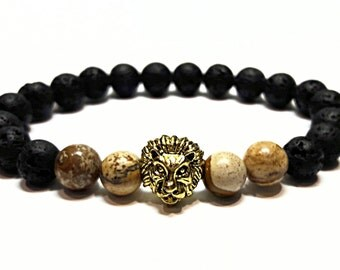 Lion Head Bracelet Lava Bracelet Jasper Jewelry Energy Bracelet Protection Mens Beaded Bracelet Rock Lava Jewelry