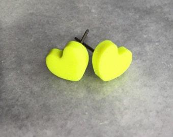 Polymer Clay Heart Earrings in Fluoro Yellow