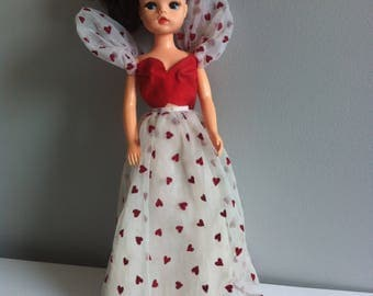 Vintage Barbie, Sindy outfit, love heart top and dress. 1980's TLC