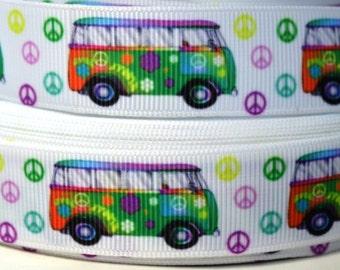 """7/8"""" VW Bus - Hippie Van - Grosgrain Ribbon"""