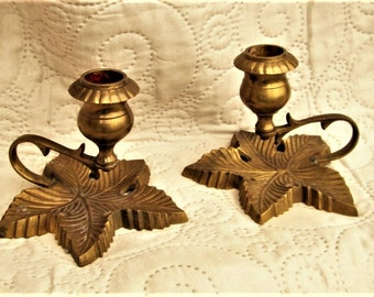 VINTAGE FRENCH CANDLEHOLDERS, antique brass, vintage brass, leaf motifs, small candleholders,. table decor, side table decor