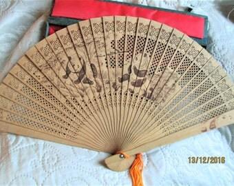 VINTAGE CHINESE FAN, wood fans, asian items, silk box, decorative fans, oriental fans, filligreed wood, large fans,