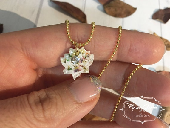 OOAK jewelry, silver necklace, lotus flower, flower resin necklace, crystal pendant, real flower jewelry, made in Italy, Christmas gift