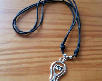Necklace for men, black adjustable Collar for men, pendant lamp, Black men's necklace