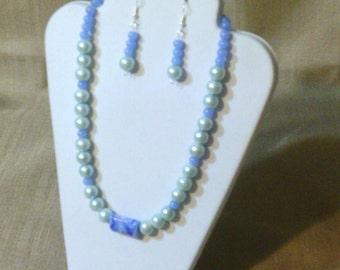 278 Dainty Pale Blue Glass Pearls and  Peridot Blue Glass Beads Beaded Choker