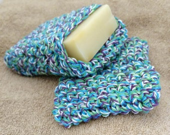Crochet Soap Saver - Blue, green, purple, and white