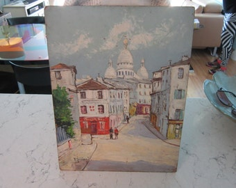 Robert Giovani..oil on board Paris,Le Sacre Coeur, Rue Norvin...Citca 1950