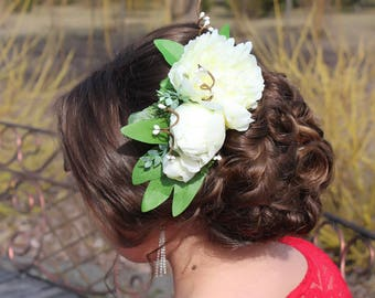 Bridal Flower Hairpiece, peony flower comb, Ivory Hair Comb, Peony Hair Clip, big flower hairpiece, flower comb wedding