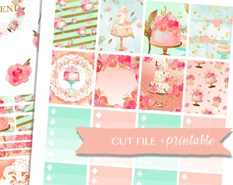 SWEET PLANNER STICKERS, printable planner sticker kit, birthday planner stickers, Tea Party Stickers, Weekly Sticker Kit, printable sticker