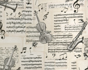 Sheet music and musical instruments - retro cotton decorative fabric mix