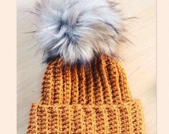 Handmade chunky Ribbed beanie hat in mustard