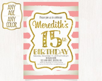 15th birthday invitation fifteenth birthday invitation gold 15th birthday invitation fifteenth birthday party gold glitter words hot pink stripes filmwisefo Image collections