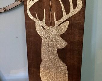Glitter Deer Antler Wood Sign | Rustic Glam Nursery Decor | Wood Decor | Country Decor | Birthday Gift