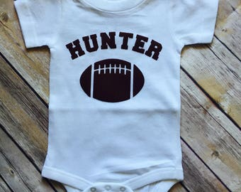 Football Wool Felt Baby Onesie or T-shirt
