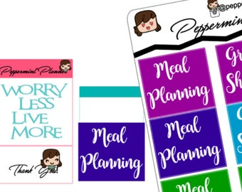 Monthly Grocery Shopping Meal Planner Stickers, Fits the R Monthly Calendar {#150}
