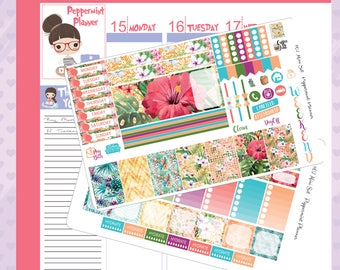 Mini H Planner Island Flowers Weekly Stickers  #67