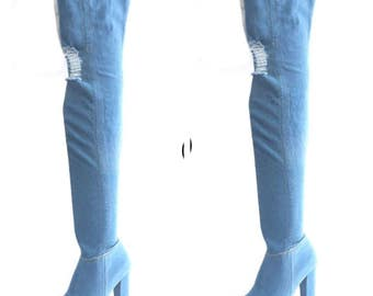 Denim Over The Knee Peep Toe Boots