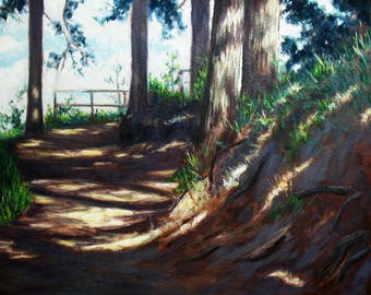 oil painting // landscape lookout point in a sunny forest // artistic work of art // hand-painted impressionism art