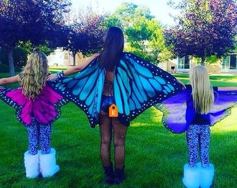 6 x small butterfly wings for a party with discount 1 of each colour with extra elastic to fit larger children/small adults