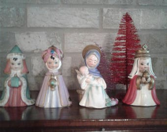 Vintage Josef Originals Nativity Set Blessed Mother holding Baby Jesus and The Three Wise Men