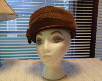 Vintage Brown Velour Hat Pillbox Hat Tulle Brown Felt Bow Rhinestones 1960's Free Shipping