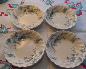 """Blue Forget Me Not Berry Bowls Set of Four 5"""" Myott"""